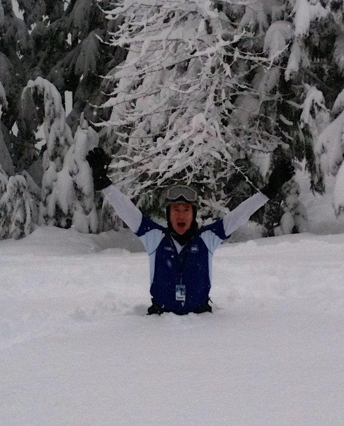 Dallas Reid in the snow in Whistler, Canada.  Not happy that these horsepower rackets do not work very well as snow shoes !
