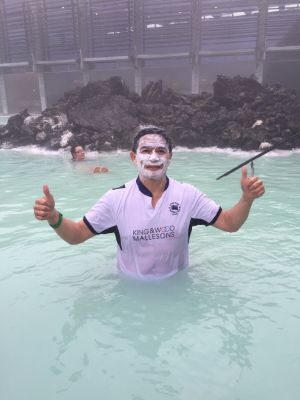 George Chan at the Blue Lagoon spa in Iceland - Is that shaving foam ?