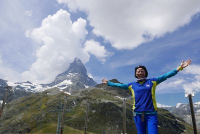 Javy Wong at the Matterhorn in Switzerland; looking for the Toblerone factory ?