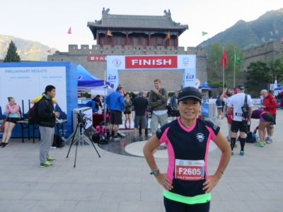 Helen Chan trying to get fit for the new season by running the Great Wall of China Marathon.