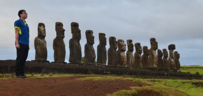 Peter Tsang, HKFC's own Moai taking up his position at the head of the line on Easter Island..